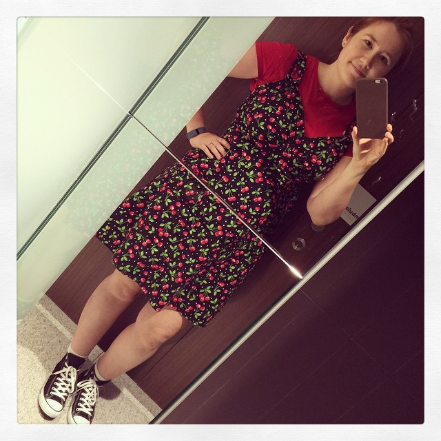 #frocktober day 31. THE LAST ONE! Homemade Parfait dress from @colettepatterns and high-top Chucks. Thanks to everyone who donated and cheered me on!