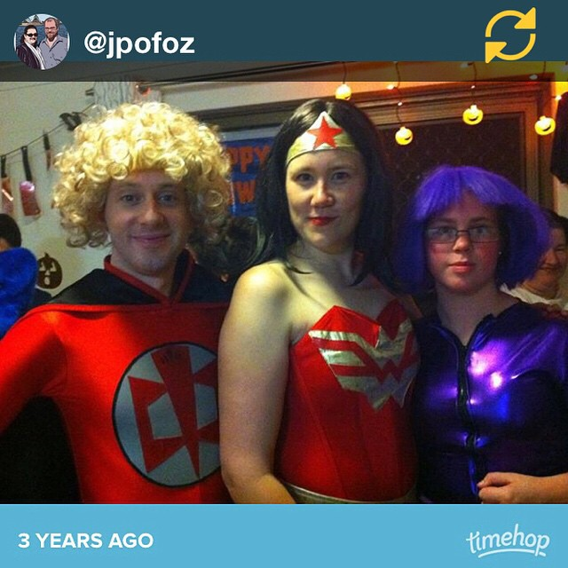 RG @jpofoz: Great costumes! #timehop // Halloween 3 years ago! I felt so KICKASS as Wonder Woman. :)