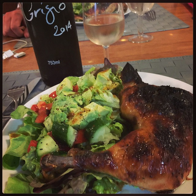 Dinner: buttermilk roast chicken and salad with DiLusso winery fig vinaigrette and Pinot Grigio. @mudgeeregion