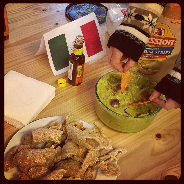Team Mexico: pork cracklings, nacho chips, and some beautiful homemade guacamole. #diversitydrinks