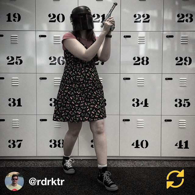 RG @rdrktr: Watch out, Boba Frock the bounty hunter is lurking about the office! // Happy Halloween!
