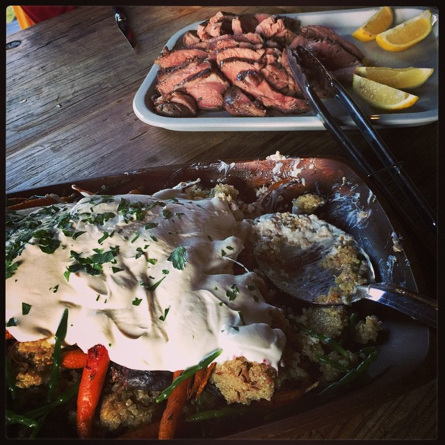 Dinner. Quinoa salad and the tenderest lamb rump I've ever eaten. @brunyislandlongweekend
