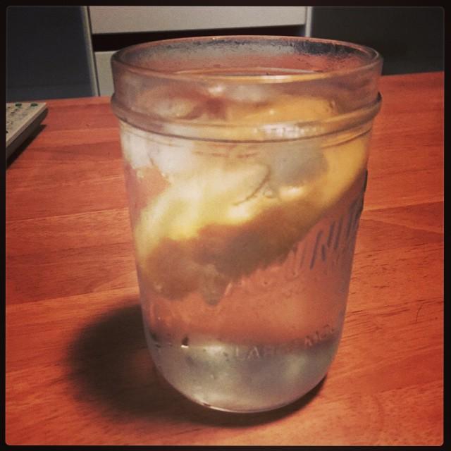 Drinking a G&T with mango garnish out of a Lagunitas pint jar likes damn hipster.