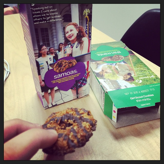 My boss @kellyandrine brought in Girl Scout Cookies. My first Samoa in like 15 years! I may have enjoyed this more than Fat Duck.