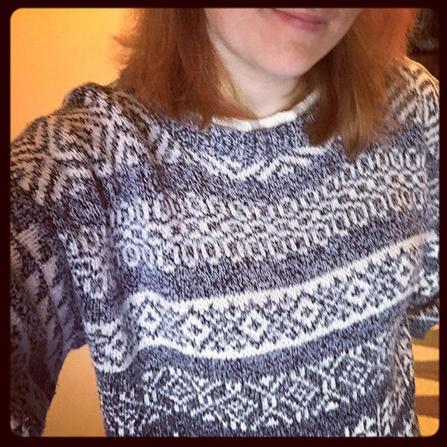 Continuing the Parade of Forgotten Handknits with the Sampler Sweater.