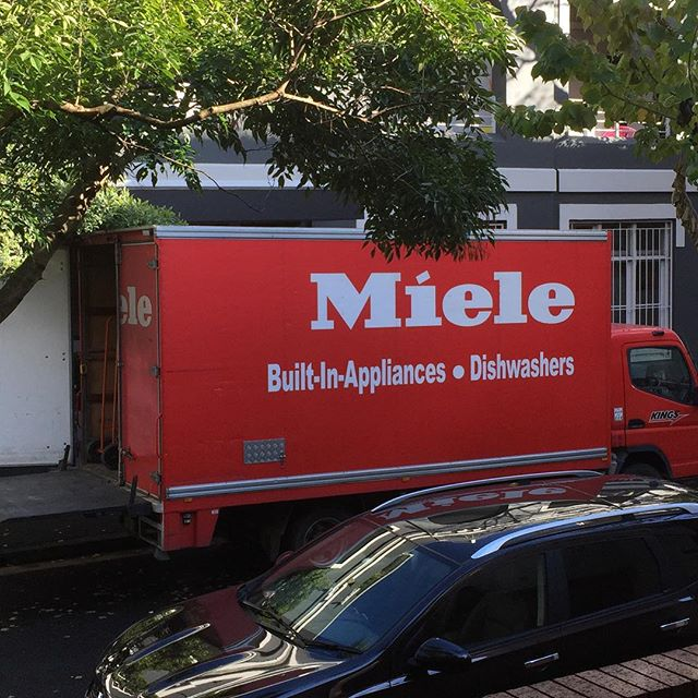 What a beautiful sight. Goodbye Blanco; hello new Miele hotness!