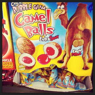 Went to buy a bus ticket this morning and was confronted by Camel Balls. Really.