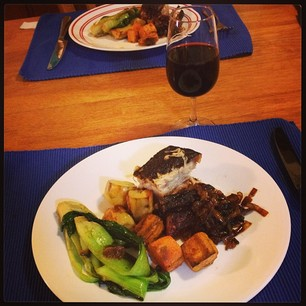 Pork belly and veg, cooked by the Snook. That's the 3rd time I've teared up today. #stress #relief