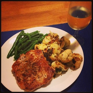 Dinner: butterfly pork, green beans, and spicy pan-roasted cauliflower. #imadeit