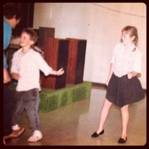 People are passing photos at the funeral. Here's 13yo me cutting a rug at their wedding reception.