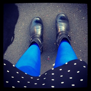 It's definitely a Coloured Tights Day. GO THE BLUES! #tweetoforigin #nswrl #9jumpin