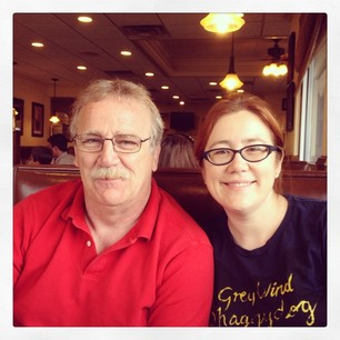 Me and my Dad at breakfast this morning.