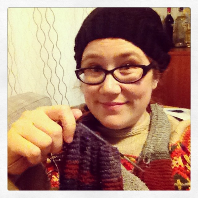 Energy efficient winter warming: handknit hat, handknit jumper, and wearing a scarf while I'm knitting it. #thegoodhood