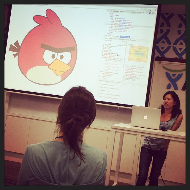Very cool. @daphnechong made an Angry Bird with just CSS! #wwcsyd