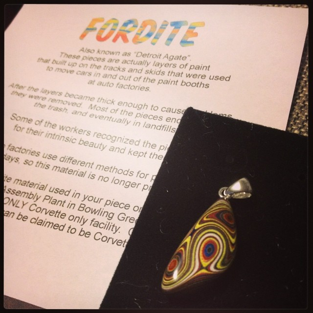 Yay! I finally have my very own piece of Corvette Fordite. Lovely metallic flecks. :)