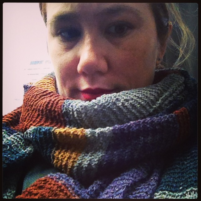 Tsumugi Who scarf, 99% finished. (Just a few more ends to weave in.) #pensive #sickie #headache