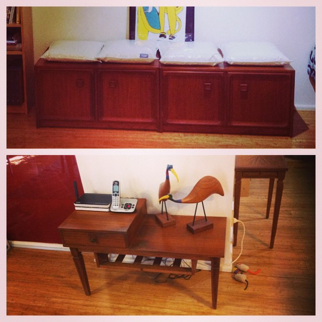 New-to-us vintage furniture from the Snook's grandma: teak cabinets and telephone table. Still arranging things...