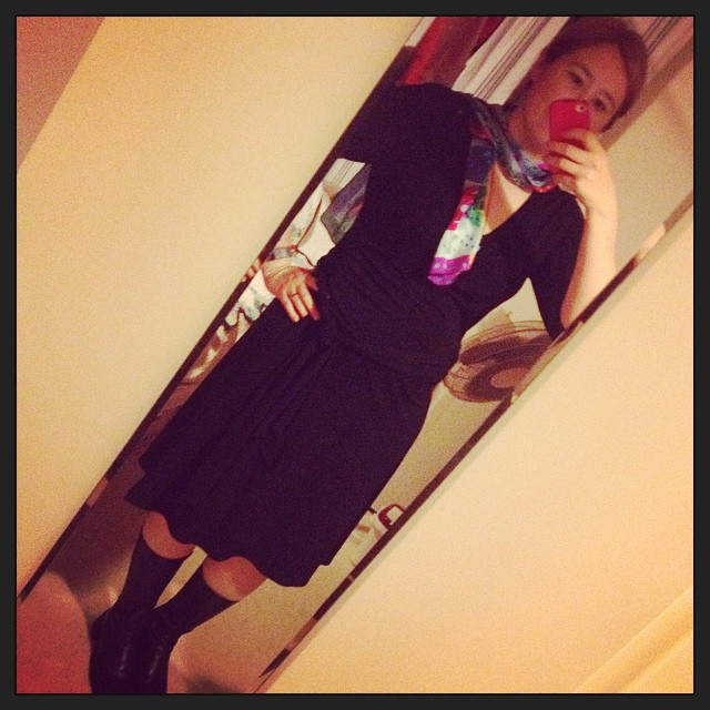#frocktober day 13. Black wrap dress and boots with a jaunty silk scarf.
