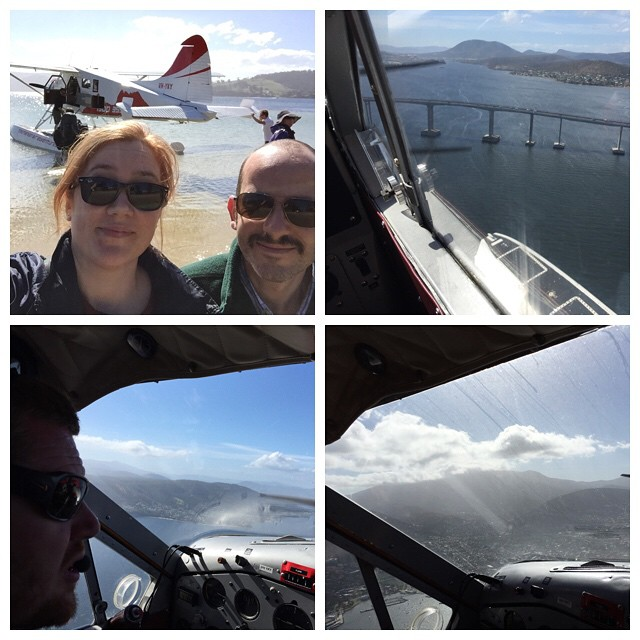 Our plane, the Tasman Bridge, Captain Ben, and Mount Wellington. @brunyislandlongweekend