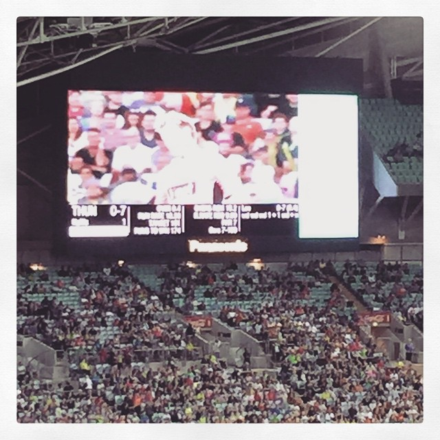 Brett Lee bowled so many wides in the 1st over that the stats line scrolled off the Jumbotron screen! #uifail #bowlerfail