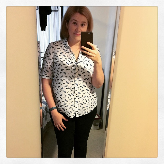 Boring yet satisfying sewing project: modified this shirt to have short sleeves! (One of long sleeves tore near cuff over a year ago.)