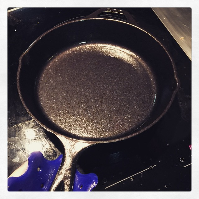 Seasoning my new cast iron skillet. Grandma will be proud!