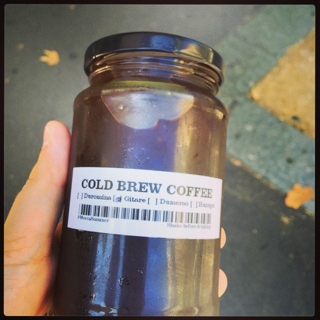 Mecca, you ridiculous hipsters. I love you. #coldbrew #jamjar