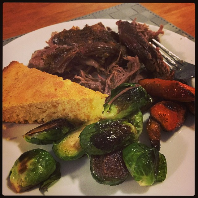 Sunday roast. Lamb shoulder, carrots, and sprouts courtesy of the Snook; brown butter cornbread courtesy of me and my cast iron skillet!
