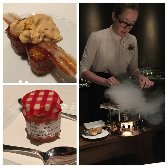 Scrambled egg-and-bacon ice cream (made with liquid nitrogen), French toast, and marmalade. As you do. #fatduck