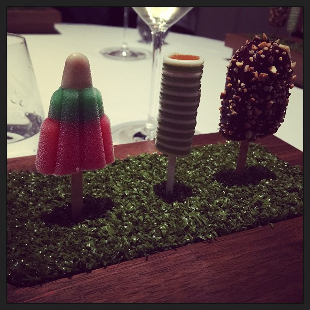 Savoury ice creams: Waldorf Rocket, Salmon roll, and Golden Gaytime (chicken liver pate with fig and roast almond). #fatduck
