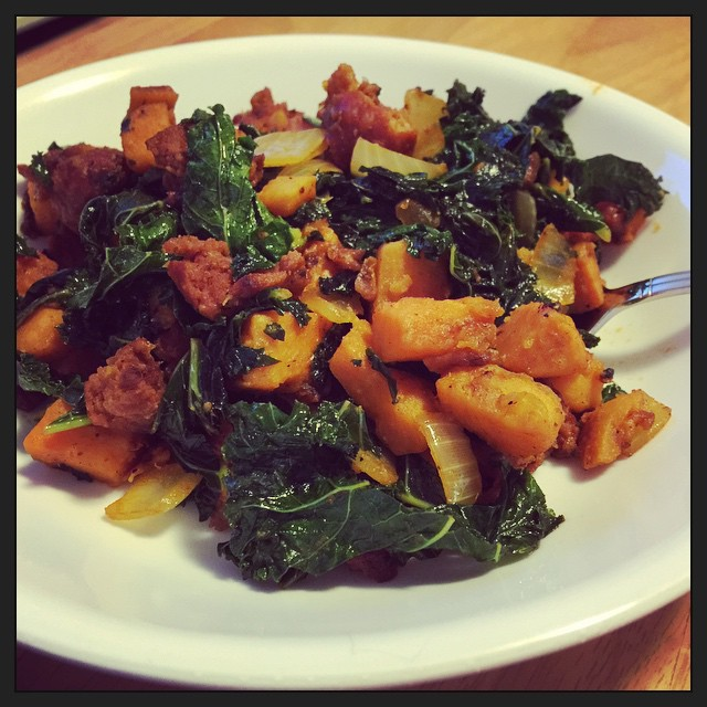 Chorizo, sweet potato, and kale hash. #paleo