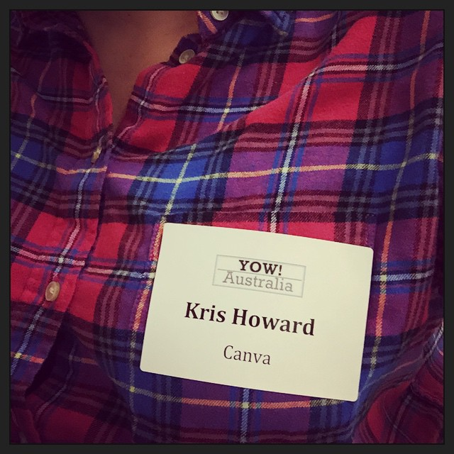 Attending my first ever tech event with @canva on my name tag!