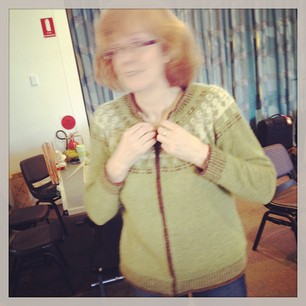 Caught in the act! Has anybody seen this woman? #cardy #nabber #knitcamp