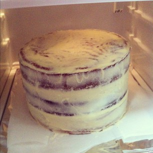CHERPUMPLE near completion. Crumb coat applied. The beast is chilling in the fridge!