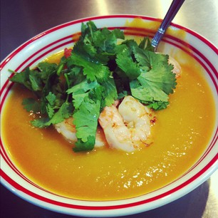 Butternut Squash Soup with Star Anise and Ginger Prawns.
