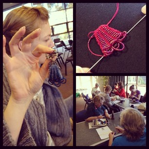 Rosalie's Beaded Knitting class produced finished brooches! #knitcamp