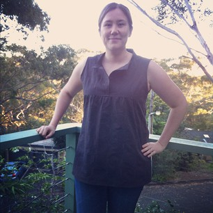 My first ever garment finished in a single day! It's a sleeveless Tova tank. #sewingparty