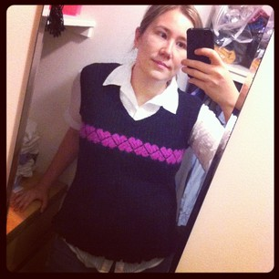 Broke out the Cheesylove vest today. One of first garments I knitted!