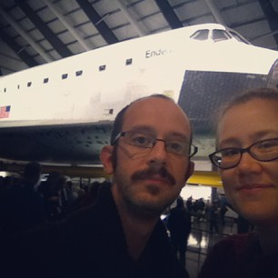 We saw the Space Shuttle today! Lots of space geek fun was had.