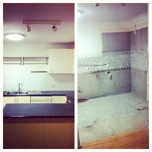 Kitchen at 2pm and 6pm. My ears are still ringing and my skin is crawling from the dust, but it has begun.