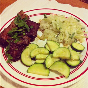 Dinner tonight: @nomnompaleo's Korean Slow Cooker Short Ribs, Fennel Salad, Zucchini. YUM.