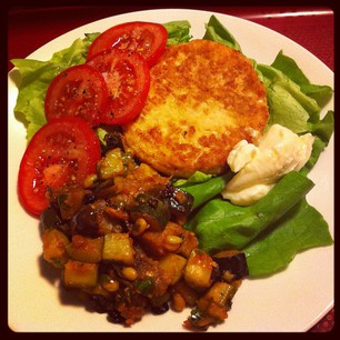 Bunless salmon burger with salad and caponata. Very tasty! #paleo