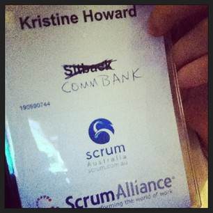 Had to make a slight correction to my name tag. #scrumaus