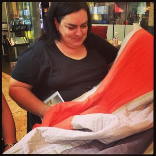 @drkknits and her amazing new Rothko quilt, courtesy of Jane!