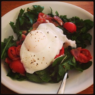 Warm Rocket Salad with Bacon & Poached Egg. The rocket's from my garden! #myfoodstory #produce