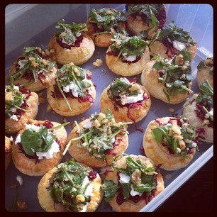 Beetroot/rocket/walnut/goat's cheese puffs for KnitGuild today. #totesmartha