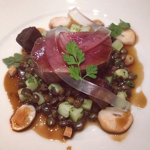 Main course: venison with smoked octopus, lentils, pine jelly, and more...!