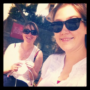 Aine and I enjoying the sun at our first official Rocks Social Knitting Group.