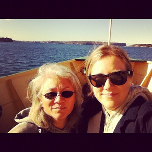 On the ferry to Manly with my Mama.