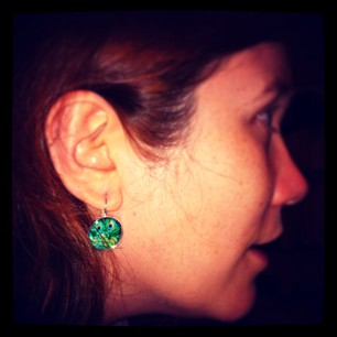 I bought some lovely earrings today at Sew Make Create! #peacocks